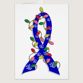 Colon Cancer Christmas Lights Ribbon Card