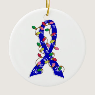 Colon Cancer Christmas Lights Ribbon Ceramic Ornament