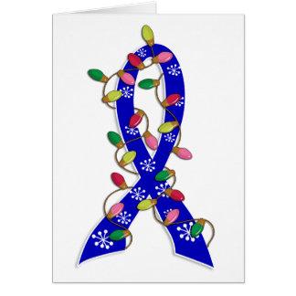 Colon Cancer Christmas Lights Ribbon Greeting Card