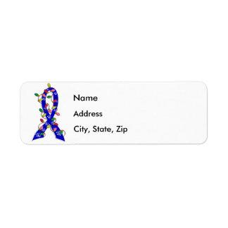Colon Cancer Christmas Lights Ribbon Label
