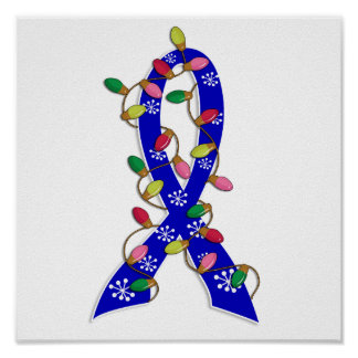 Colon Cancer Christmas Lights Ribbon Posters