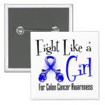 Colon Cancer Cool Retro Fight Like a Girl Pin