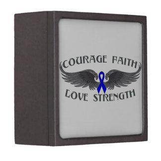 Colon Cancer Courage Faith Wings Premium Jewelry Box