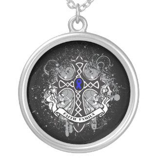 Colon Cancer - Faith Family Prayer Cross Round Pendant Necklace