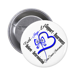 Colon Cancer Faith Hope Love Butterfly 2 Inch Round Button