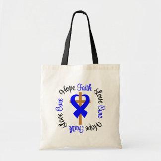 Colon Cancer Faith Hope Love Cross Tote Bag