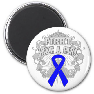 Colon Cancer Fight Like A Girl Fleurish 2 Inch Round Magnet