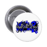 Colon Cancer Fight Like A Girl Grunge Butterfly Pinback Button