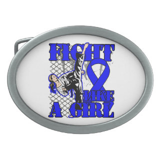 Colon Cancer Fight Like A Girl Kick Belt Buckles