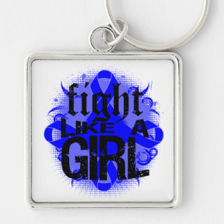 Colon Cancer Fight Like A Girl Rock Ed. Silver-Colored Square Keychain