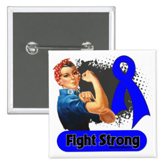 Colon Cancer Fight Strong Rosie Riveter 2 Inch Square Button