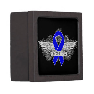 Colon Cancer Fighter Wings Premium Keepsake Boxes