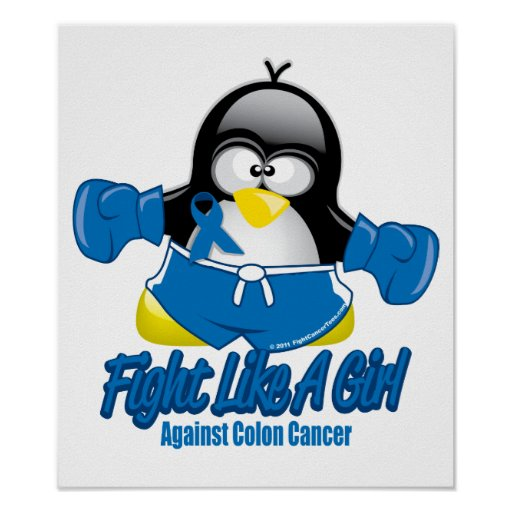 Colon Cancer Fighting Penguin Posters