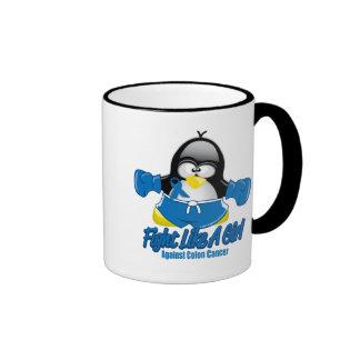 Colon Cancer Fighting Penguin Ringer Mug