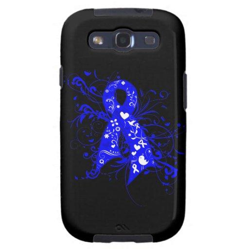 Colon Cancer Floral Swirls Ribbon Samsung Galaxy S3 Cover