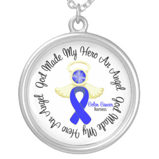 Colon Cancer God Made My Hero An Angel Round Pendant Necklace