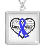 Colon Cancer Heart Ribbon Collage Personalized Necklace