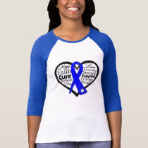 Colon Cancer Heart Ribbon Collage T-Shirt