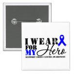 Colon Cancer Hero Blue Ribbon Button