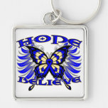 Colon Cancer Hope Believe Butterfly Key Chain