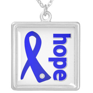 Colon Cancer Hope Blue Ribbon Square Pendant Necklace