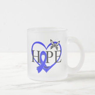 Colon Cancer Hope Butterfly Heart Décor 10 Oz Frosted Glass Coffee Mug