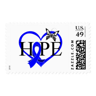 Colon Cancer Hope Butterfly Heart Décor Postage