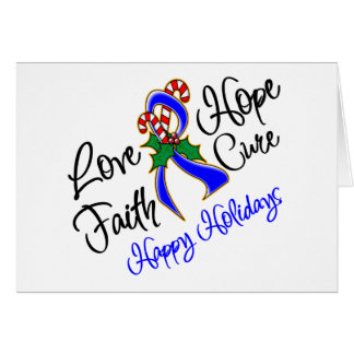 Colon Cancer Hope Love Cure Happy Holidays Greeting Card