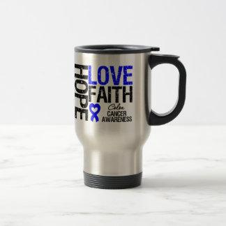 Colon Cancer Hope Love Faith 15 Oz Stainless Steel Travel Mug