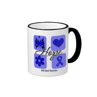 Colon Cancer Hope Love Inspire Awareness Ringer Coffee Mug