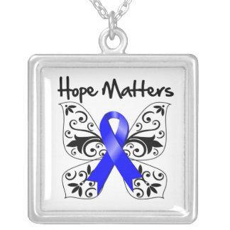 Colon Cancer Hope Matters Square Pendant Necklace
