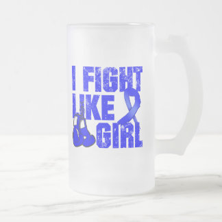 Colon Cancer I Fight Like A Girl (Grunge) 16 Oz Frosted Glass Beer Mug