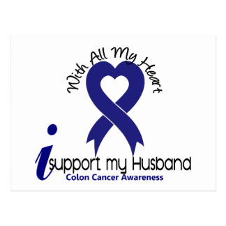 Colon Cancer I Support My Husband Postcard