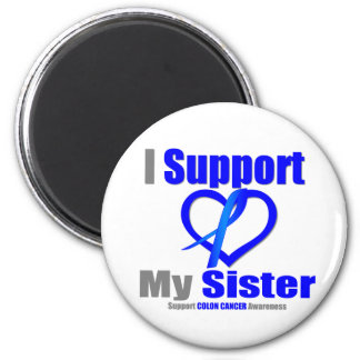 Colon Cancer I Support My Sister 2 Inch Round Magnet