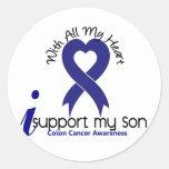 Colon Cancer I Support My Son Classic Round Sticker