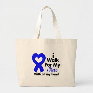 Colon Cancer I Walk For My Hero Jumbo Tote Bag