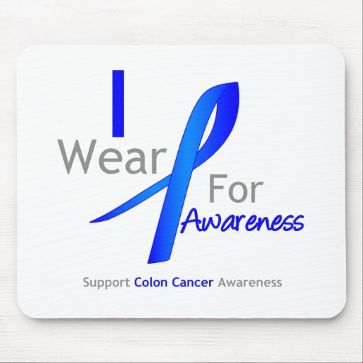 Colon Cancer I Wear Blue For Awareness Mouse Mats