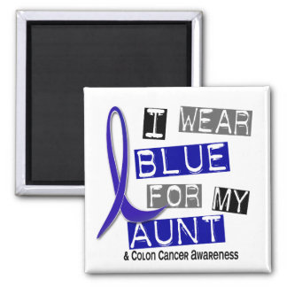 Colon Cancer I Wear Blue For My Aunt 37 2 Inch Square Magnet