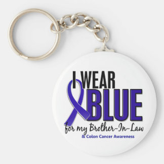 Colon Cancer I Wear Blue For My Brother-In-Law 10 Basic Round Button Keychain