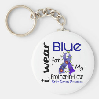 Colon Cancer I Wear Blue For My Brother-In-Law 43 Basic Round Button Keychain