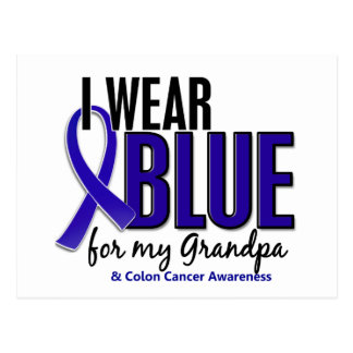 Colon Cancer I Wear Blue For My Grandpa 10 Postcard