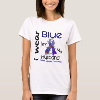 Colon Cancer I Wear Blue For My Husband 43 T-Shirt