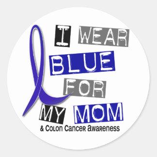 Colon Cancer I Wear Blue For My Mom 37 Classic Round Sticker