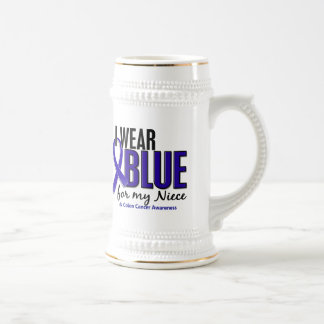 Colon Cancer I Wear Blue For My Niece 10 Beer Stein