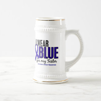 Colon Cancer I Wear Blue For My Sister 10 18 Oz Beer Stein