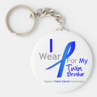 Colon Cancer I Wear Blue For My Twin Brother Basic Round Button Keychain