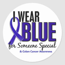 Colon Cancer I Wear Blue For Someone Special 10 Classic Round Sticker