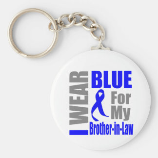 Colon Cancer I Wear Blue Ribbon Brother-in-Law Basic Round Button Keychain