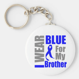 Colon Cancer I Wear Blue Ribbon Brother Basic Round Button Keychain