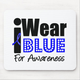 Colon Cancer I Wear Blue Ribbon For Awareness Mouse Pad
